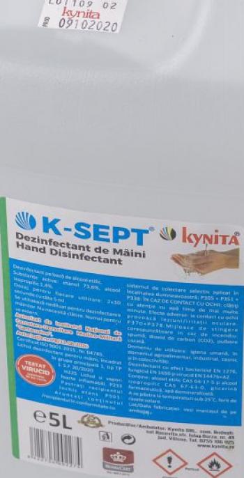 Lichid dezinfectant pe baza de alcool 75 cu glicerina K-SEPT 5 L Articole curatenie si igiena