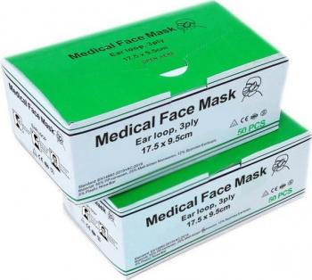 Masti medicale tip IIR 3 pliuri 3 straturi EN 14683 set 50 bucati Masti chirurgicale si reutilizabile