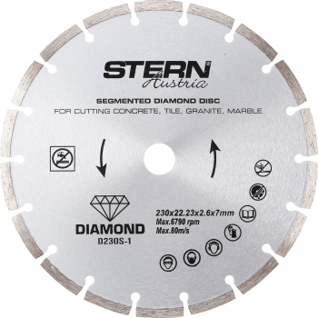Disc diamantat segmentat Stern Austria D230S-1 230 X 22.23 x 2.6 X 7 mm Accesorii Polizoare