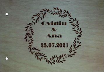 Coperta lemn Guest book pentru Miri florala 21x30cm Albume Foto