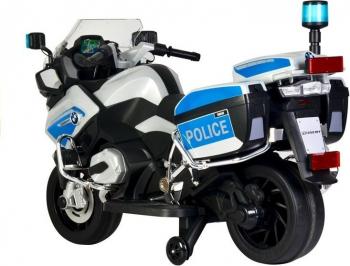 Motocicleta electrica de politie BMW roti cauciuc girofar sirena argintiu