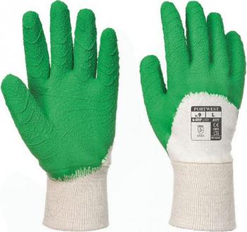 Manusi de lucru din latex verde/alb Portwest L