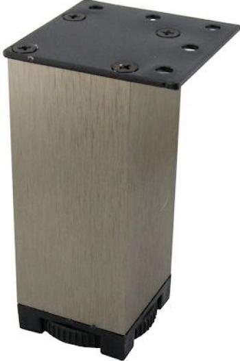 Picior metalic pentru mobilier H 100 mm finisaj otel inox periat profil patrat 40x40 mm fara masca AN1 Accesorii mobilier
