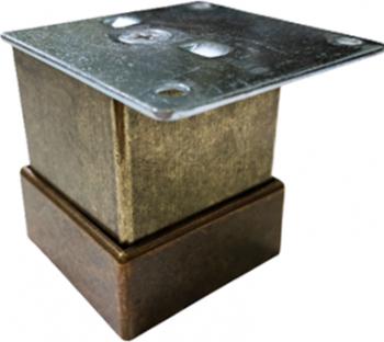 Picior metalic pentru mobilier H 50 mm finisaj auriu antichizat profil patrat 40x40 mm cu masca Accesorii mobilier