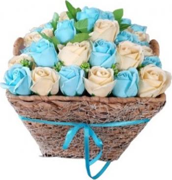 Aranjament floral premium EMR - Trandafiri de sapun Albastru/Crem 30x25