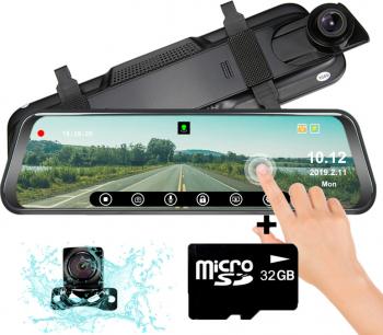 Camera auto dubla oglinda DVR Loosafe and trade RoadTeam H19 10 inch touch camera marsarier Full HD 30fps night vision lentile Sony