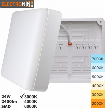 Plafoniera 24W Tip P 2400lm 3000K AC220-240V 50/60 Hz 180 and deg ABS White A+ Corpuri de iluminat