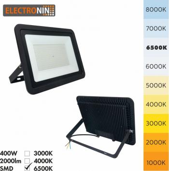 Proiector Electronin LED 400W 40000lm AC220-240V 50/60 Hz IP65 120 and deg 6500K negru A+ Corpuri de iluminat