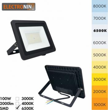 Proiector LED Electronin 100W 10000lm AC220-240V 50/60 Hz IP65 120 and deg 6500K negru A+ Corpuri de iluminat