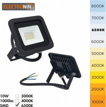 Proiector LED Electronin 10W 1000lm AC220-240V 50/60 Hz IP65 120 and deg 6500K negru A+ Corpuri de iluminat