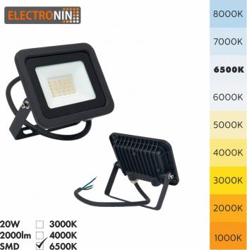Proiector LED Electronin 20W 2000lm AC220-240V 50/60 Hz IP65 120 and deg 6500K negru A+ Corpuri de iluminat
