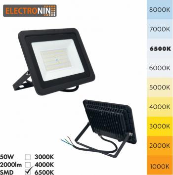 Proiector LED Electronin 50W 5000lm AC220-240V 50/60 Hz IP65 120 and deg 6500K negru A+ Corpuri de iluminat