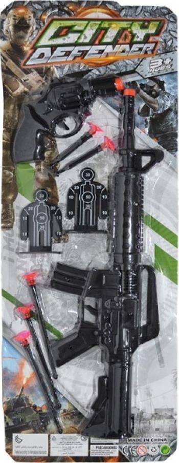 Set Arme - Pistol Mitraliera + Pistol + Ventuze Jucarii