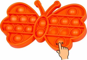 Jucarie Pop It Now and Flip It Push Bubble Fluture Portocaliu Kendama si jucarii antistres