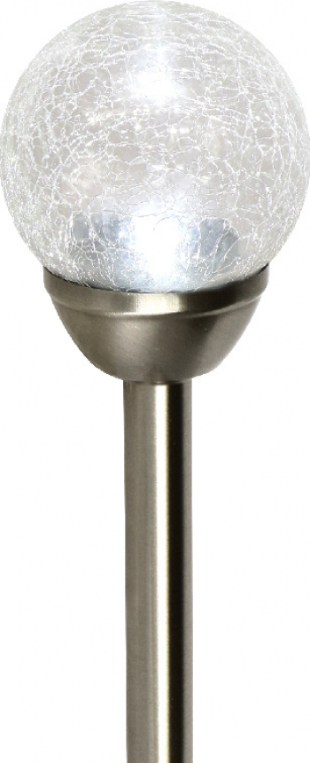 Lampa solara sferica cu finisaj de sticla sfaramata diametru 12 cm alb Corpuri de iluminat