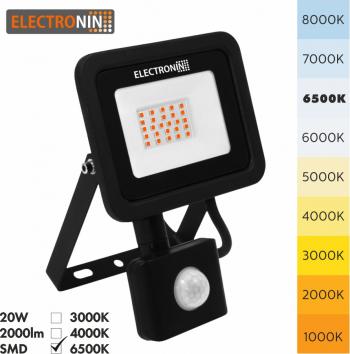 Proiector LED Electronin 20W cu senzor 2000lm AC220-240V 50/60 Hz IP65 120 and deg 6500K negru A+ Corpuri de iluminat