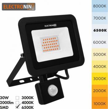 Proiector LED Electronin 30W cu senzor 3000lm AC220-240V 50/60 Hz IP65 120 and deg 6500K negru A+ Corpuri de iluminat
