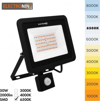 Proiector LED Electronin 50W cu senzor 5000lm AC220-240V 50/60 Hz IP65 120 and deg 6500K negru A+ Corpuri de iluminat