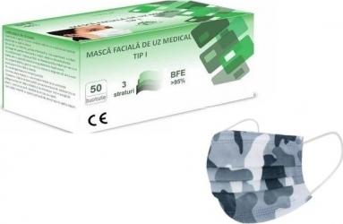 Set 50 Masti de uz medical tip 1 camuflaj 3 straturi Masti chirurgicale si reutilizabile