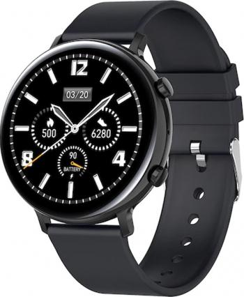 Ceas smartwatch TechONE and reg GW33 1.3 inch IPS Full Touch BT 4.2 raspunsrefuz EKG oxigen rezistenta apa IP68 bratara cauciuc Negru Smartwatch