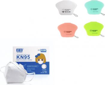 Set 10 Masti Protectie KN95 pentru Copii 5-11 ani plus 4 buc cutie protectie masti multicolor Masti chirurgicale si reutilizabile