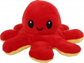 Caracatita reversibila din plus cu 2 fete fata fericita si fata trista Octopus Happy-Sad inaltime 12 cm diametru 20 cm rosu Jucarii