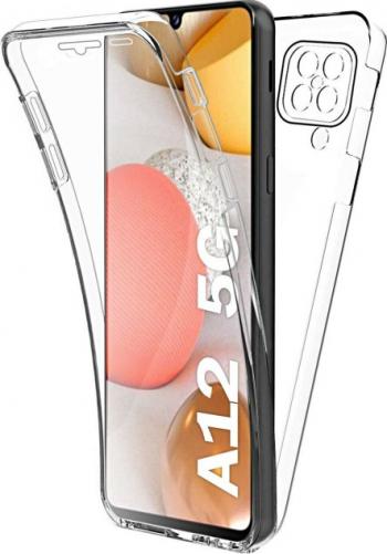 Husa 360 and deg compatibila cu Samsung Galaxy A12 fata+spate silicon Transparent