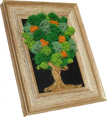 Tablou copac 3D ornamental cu licheni stabilizati Produs Handmade Multicolor 25x20 cm Tablouri