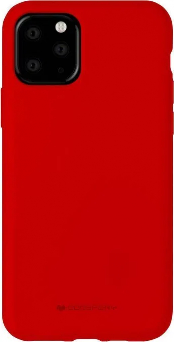 Husa Spate Mercury Silicone iPhone 11 Pro Max cu Interior Alcantara rosu Huse Telefoane