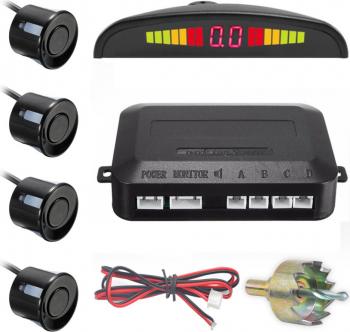 Senzori parcare cu display LED DX Shop negru Alarme auto si Senzori de parcare