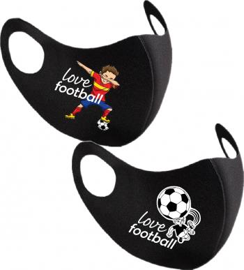 Set 2 bucati masca de protectie copii imprimata Love Fotbal Masti chirurgicale si reutilizabile