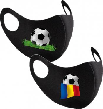 Set 2 bucati masca protectie barbati imprimata Fotbal Romania Masti chirurgicale si reutilizabile