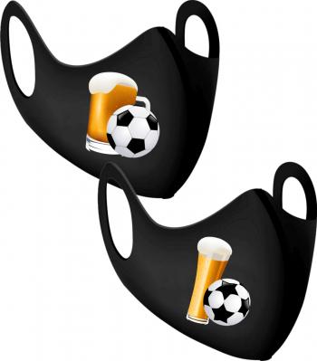 Set 2 bucati masca protectie barbati imprimate bere si fotbal Masti chirurgicale si reutilizabile