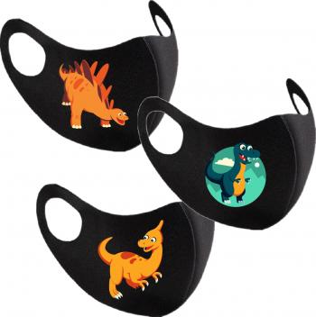 Set 3 bucati masca de protectie copii imprimata Dinozaurii Veseli Masti chirurgicale si reutilizabile