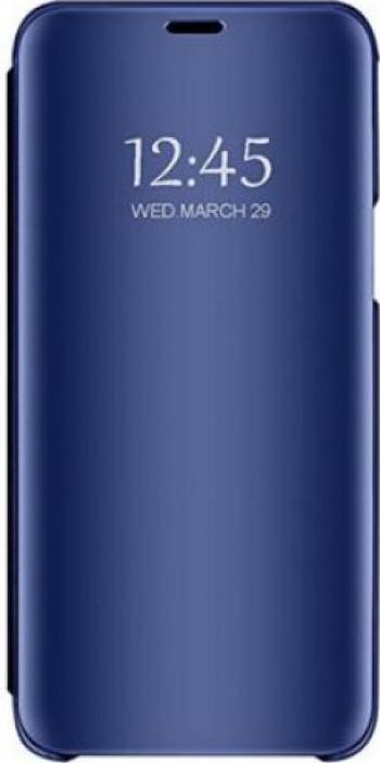 Husa compatibila cu Huawei P40 lite Clear View Flip Mirror Stand Blue