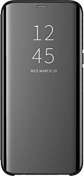 Husa Protectie Toc Flip Cover Clear View Mirror compatibila cu Huawei P30 Pro Negru Huse Telefoane