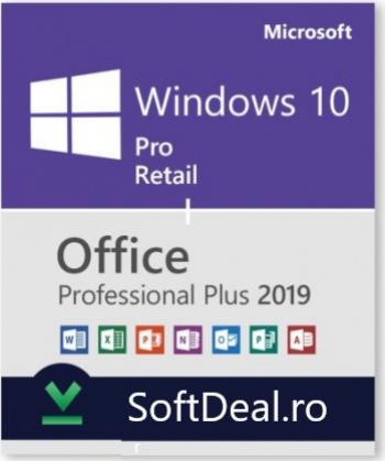 Windows 10 Pro Retail + Office 2019 Pro Plus persoane fizice si juridice Sisteme de operare