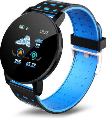Bratara Fitness Smart FitPro ID119 Plus color HD Ritm Cardiac Rezistent Apa Ip67 Pedometru calorii arse Tensiune vibratii NegruAlbastru Smartwatch