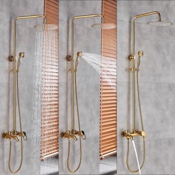 Coloana Dus Gold Livorno cu para rotunda si efect de ploaie para ajustabila pe inaltime