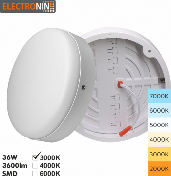 Plafoniera 36W Tip C 3600lm 3000K AC220-240V 50/60 Hz 180 and deg ABS White A+ Corpuri de iluminat