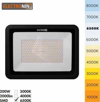 Proiector LED 200W 20000lm AC220-240V 50/60 Hz IP65 120 and deg 6500K negru A+ Corpuri de iluminat