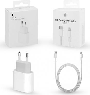 Set pentru Iphone 12 incarcator de 18w Fast Charge si cablu de dateincarcare USB-C cu Lightning Apple in ambalaj original Incarcatoare Telefoane