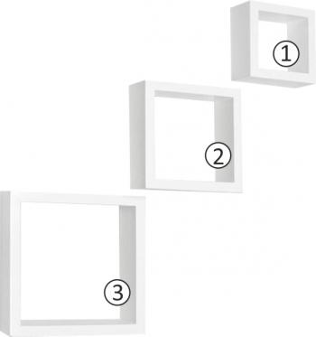 Set rafturi 3 buc alb KVADRO NEW DR-WS-6103 Biblioteci si rafturi