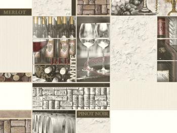 Tapet superlavabil vinil pentru baie si bucatarie 5700-10 Wine Tapet