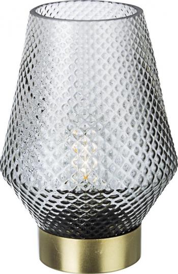 Veioza cu baza din metal auriu si abajur sticla gri Mumbai and Oslash 12 cm x 17.5 h Corpuri de iluminat
