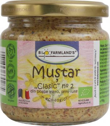Mustar Clasic nr.2 cu boabe maro 195g Bio/ECO RAW VEGAN Biofarmland Produse gourmet
