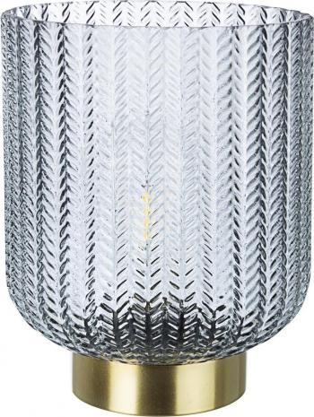 Veioza cu baza din metal auriu si abajur sticla gri Delhi and Oslash 17.2 cm x 21 h Corpuri de iluminat