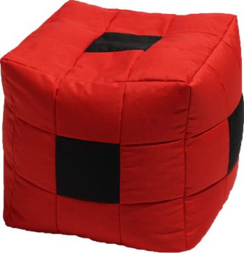 Fotoliu Mic Taburet Cub - Black Spotted Cube pretabil si la exterior umplut cu perle polistiren Fabricat in Romania Fotolii