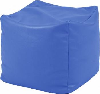 Fotoliu Mic Taburet Cub XL - Albastru piele eco umplut cu perle polistiren Fabricat in Romania Fotolii