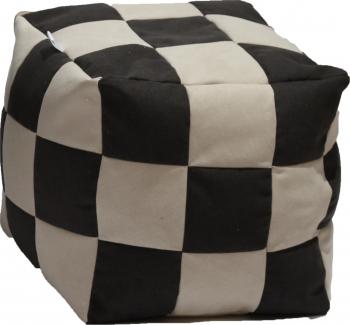 Fotoliu Pufrelax Taburet Cub Gama Premium - Black and Cream cu husa detasabila textila umplut cu perle polistiren Fotolii